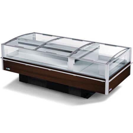 expositor refrigerado horizontal com tampa de vidro